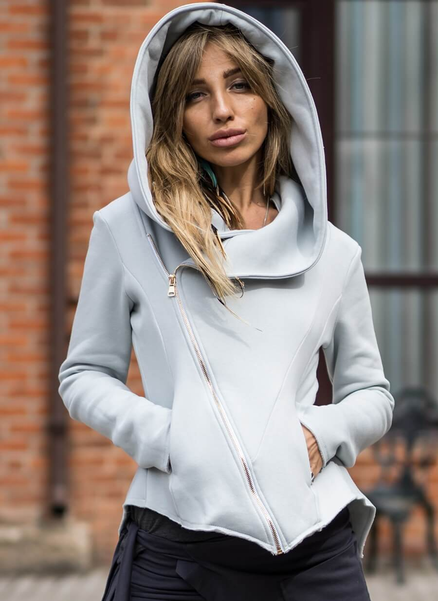 women's Asymmetrical zip GREY hoodie