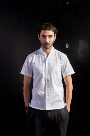 White Cotton Airtex Shawl Collar Short Sleeve Shirt