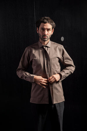Khaki Cotton Casual Collar Shirt