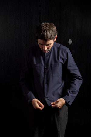 Navy Cotton Collarless Overshirt