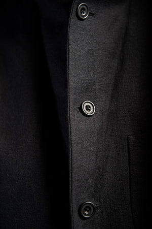 Five Button Black Linen Nehru jacket