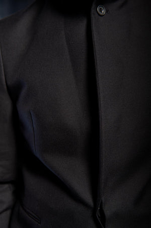 One Button Black Cotton Twill Nehru Notch Lapel Jacket