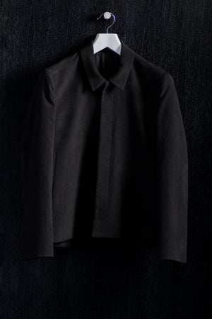 Shirt Collar Black Black Moleskin Bomber Jacket