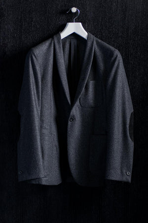 One Button Shawl Lapel Grey Flannel Jacket
