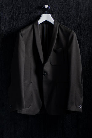 One Button Shawl Lapel Black Cotton Jacket