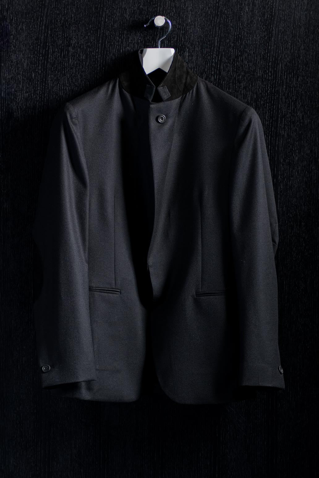 One Button Black Flannel Nehru Notch Lapel Jacket
