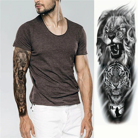 Lion Temporary Tatto Animal Anger