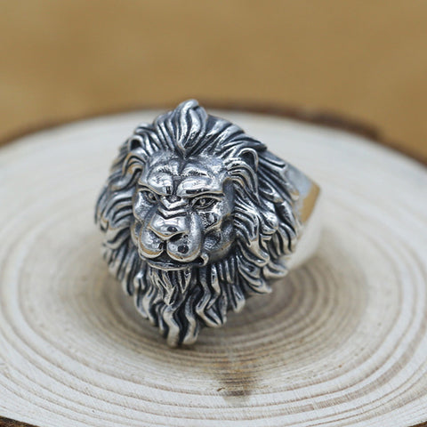 Silver Lion's Head Ring Wild Charisma