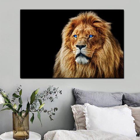 Lion Painting Blue Eyes
