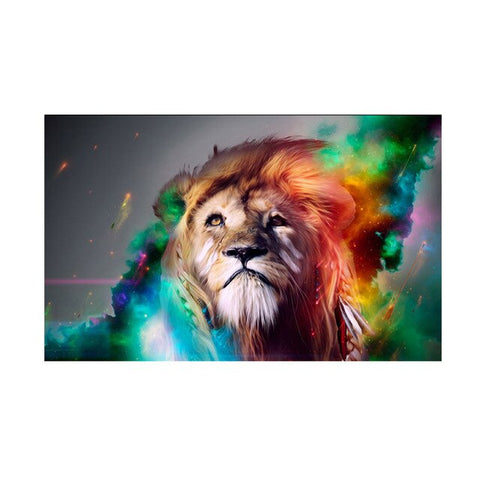 Lion Painting Multicolor - 20x30cm No Frame / c1