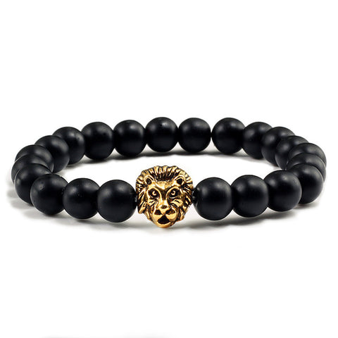 Lion Bracelet Black Pearls