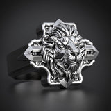 "Steel Lion Ring ""Cross"""
