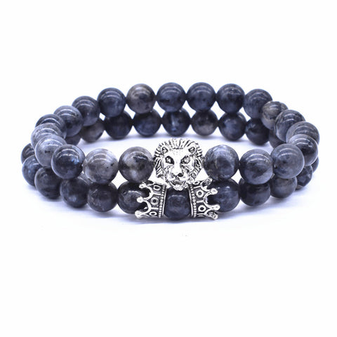 Lion Bracelet Silver Crown