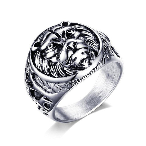 Vintage Lion Head Ring - 10