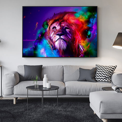 Coloured Lion Painting