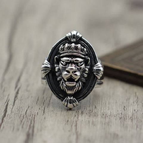 Silver Lion Head Ring Majestic Feline
