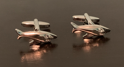 Silver swimming sharks cufflinks