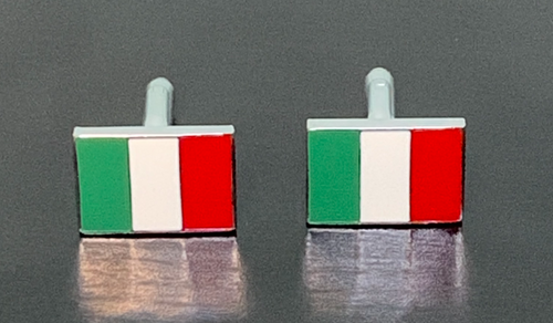 Italy flag green white red enamel cufflinks with silver edge