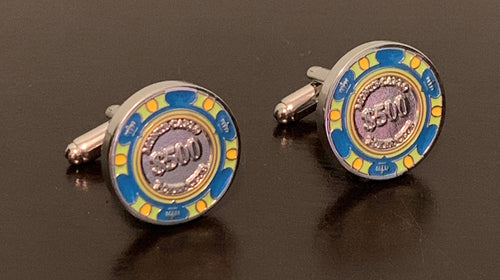 $500 multi-color casino chip silver cufflinks