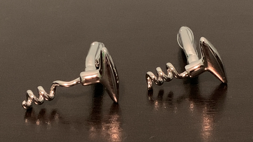 Silver cork screw cufflinks