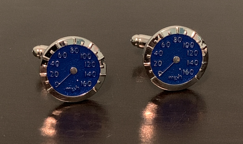 Blue speedometer cufflinks in silver setting