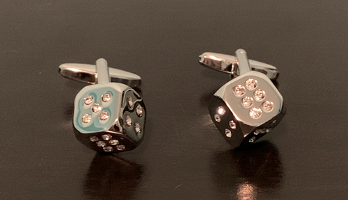 Silver dice cufflinks with crystal number dots