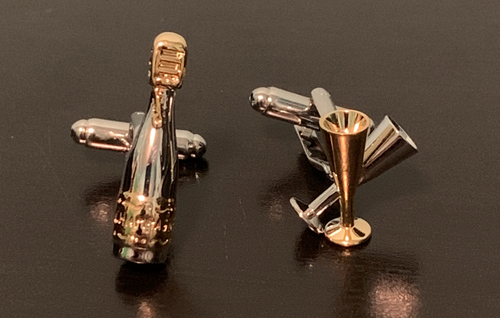 Silver and gold champagne bottle and wine glass cufflinks