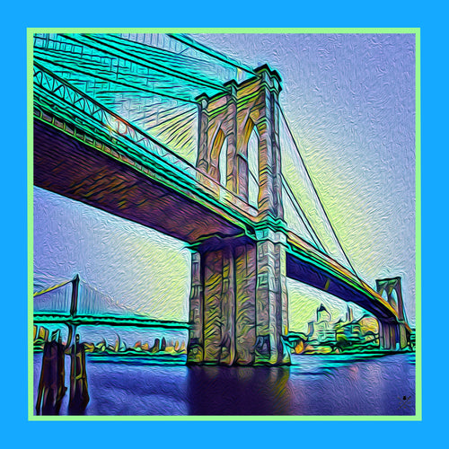 Brooklyn bridge New York skyline in blue, green and yellow pocket square