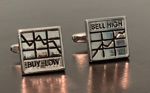 Silver buy low sell high stock chart cufflinks