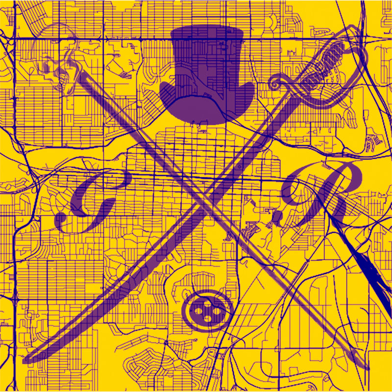 Calgary Street Map Gold Ladies Scarf