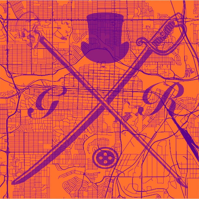 Calgary Street Map Orange Ladies Scarf
