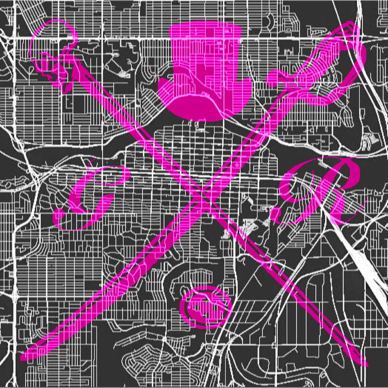 Calgary Street Map Bold Pink Pocket Square