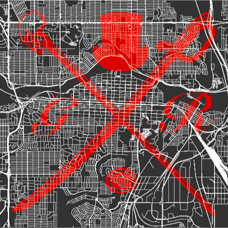 Calgary Street Map Bold Red Pocket Square