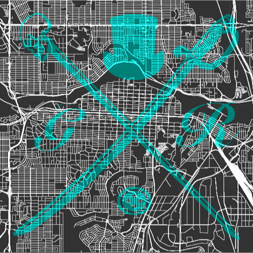 Vector map of Calgary in black and white with the Gentleman Rogue logo superimposed on top in teal