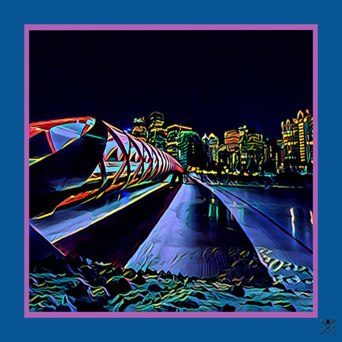 Calgary Peace bridge at night ladies silk scarf in shades of navy blue, indigo, red and gold