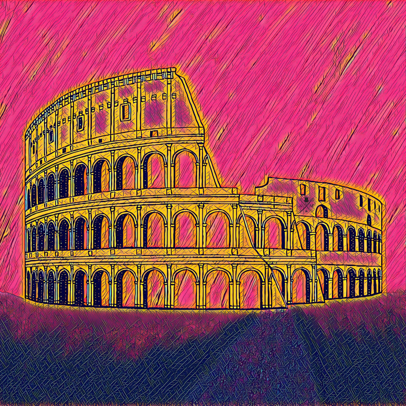 Rome - Colosseum - Pink & Gold Ladies Scarf
