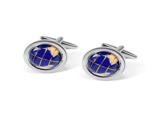 Dark blue globe cufflinks with enamel continents in silver frame