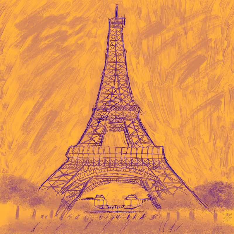 Paris - Eiffel Tower Monochrome Gold Ladies Scarf