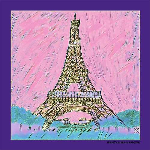 Ladies scarf with a sketched image of the Eiffel Tower in pink, purple and teal