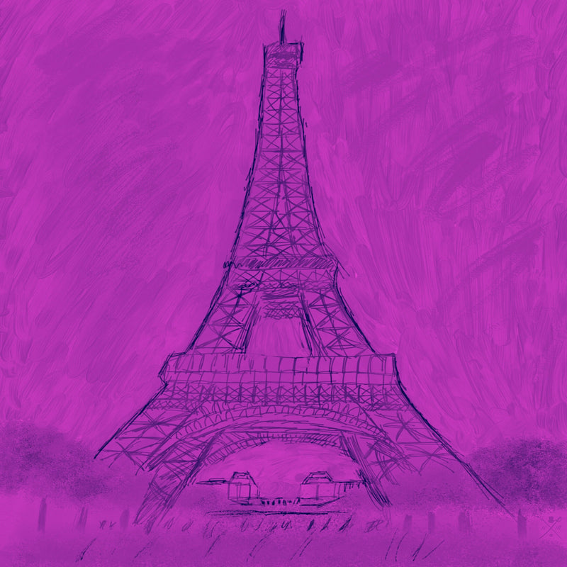 Sketched image of Eiffel Tower in dark purple on purple background