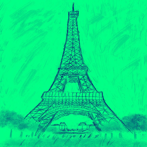 Sketch of the Eiffel Tower  on a mint green background
