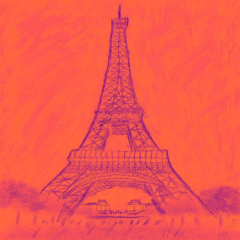 Paris - Eiffel Tower Monochrome Burnt Orange
