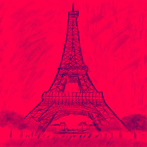 Sketched image of Eiffel Tower in navy blue on red background