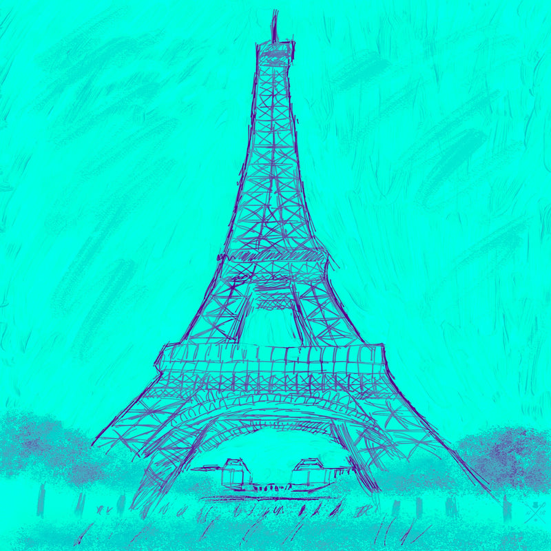 Paris - Eiffel Tower Monochrome Turquoise Ladies Scarf