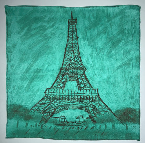 Sketched image of Eiffel Tower in black on a dawn background