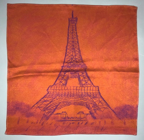 Sketched image of Eiffel Tower in purple on orange background