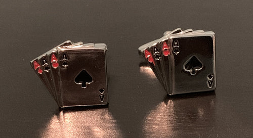 Four aces cufflinks in silver