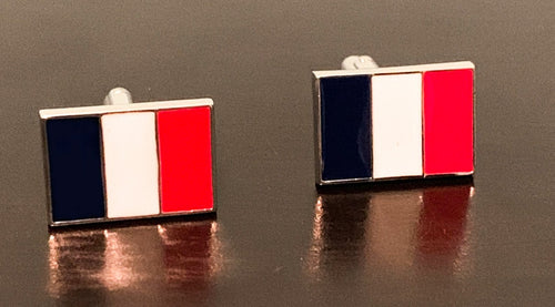 France flag, French tricoleur navy blue white and red cufflinks