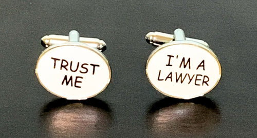 Trust Me I'm A Lawyer white enamel cufflinks with silver outline
