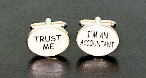 Trust Me I'm An Accountant white enamel cufflinks with silver outline